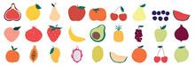 Set Of Colorful Fruit Icons ,banana, Apple, Pear, Strawberry, Orange, Peach, Plum, Watermelon, Pineapple, Papaya, Grapes, Cherry, Lemon, Mango. Vector Illustration, Isolated On White.