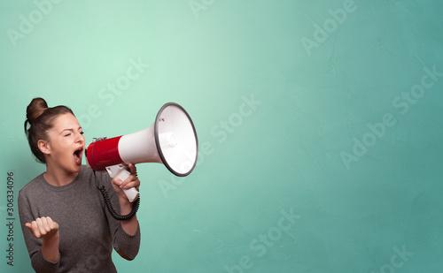 Fototapeta Person speaking in loudspeaker concept obraz