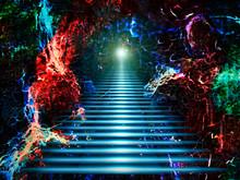 Luminous Aerial Staircase Through The Fourth Dimension. Magical Dream. Alice's Path Through The Rabbit Hole.