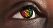Woman black eye in close up with the flag of Guinea in iris with wind motion. video concept