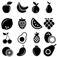 fruits vector icon set. vitamin illustration sign collection. tropical symbol or logo.