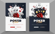 Poker Casino Banner Set With Cards And Chips. Vector Illustration