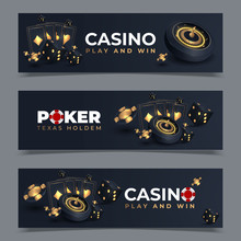 Set Of Casino Banners With Casino Chips And Cards. Poker Club Texas Holdem. Vector Illustration