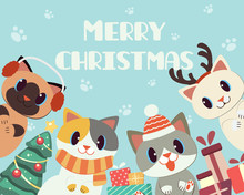 The Banner Of Cute Cat In Christmas Theme For Merry Christmas. The Character Of Cute Cat Wear A Scarf And Winter Hat And Deer Horn With A Giftbox And Christmas Tree. The Cute Cat In Flat Vector Style.