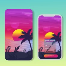 Vector Banners Set With Polygonal Landscape Illustration. For Mobile Aps, Banner, Horizontal Header Website, Printed Materials. Image Picture Background