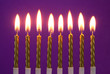 canvas print picture - Eight burning golden birthday candles