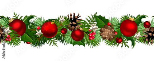 Photo  Vector Christmas horizontal seamless garland with fir-tree branches, red balls, holly and pinecones
