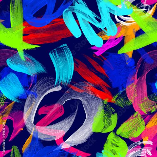 Deurstickers Paradijsvogel Multicolored splash watercolor seamless pattern. Brush strokes background. Colorful digital print. - illustration.