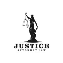 Lady Justice, Justitia Goddess Logo For Attorney And Law Simple Clean Minimalist Modern Silhouette Statue Black Icon Design.