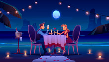 Couple At Night Beach Romantic Date Dinner, Man Holding Woman Hand Sitting At Served Table On Seaside Under Full Moon In Sky Drinking Champagne, Glow Candles, Flower Petals Cartoon Vector Illustration