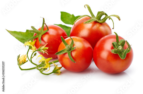 Fototapeta Tomato with leaf for packaging and label. Still life harvest vegetable. Healthy food organic foodstuff. Isolated on white background. obraz