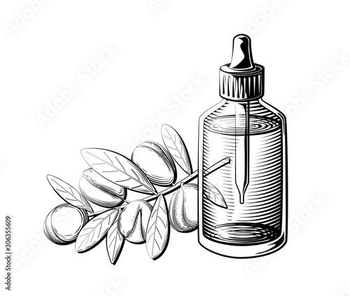 Photo Argan oil bottle illustration