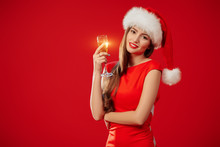 Christmas Girl With Glass Of Champagne