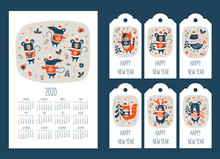 2020 Calendar With The Symbol Of The Year Of The Mouse. Set Of Tags With New Year Greetings And Cute Animals. Vector Illustration.