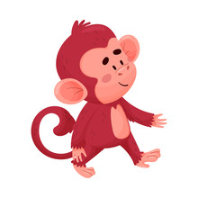 Funny Little Red Monkey Walks Smiling Vector Illustration Cartoon Character