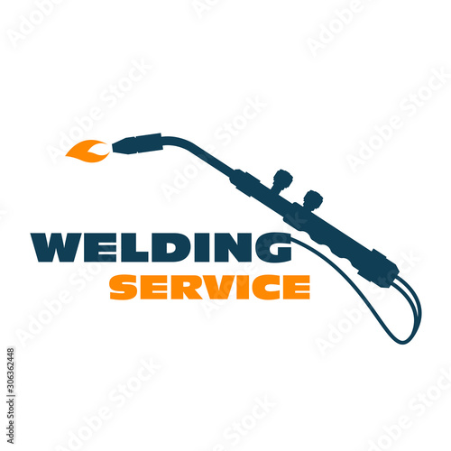 Welding icon - burner cutting torch, weld service simple logo Canvas Print