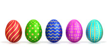 Five Easter Eggs With Different Colors And Gold Pattern