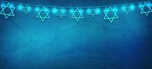 Jewish Holiday. Stars Of David With Blue Background. Jewish Holiday Hanukkah. Illustration.