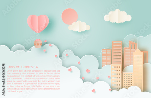Foto auf AluDibond Licht blau Illustration of love. Valentine's day concept. Honeymoon travel. Paper art made full heart in hot air balloon floating over city.