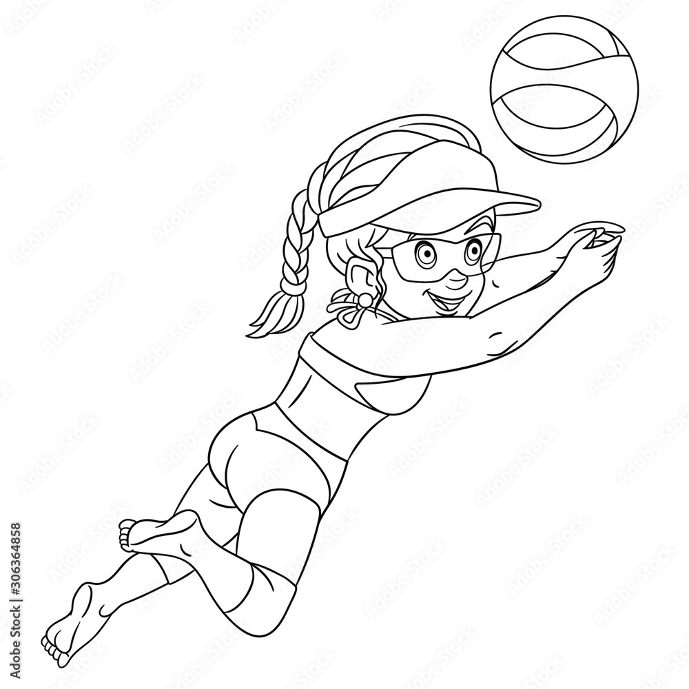 Fototapeta coloring page with girl playing volleyball
