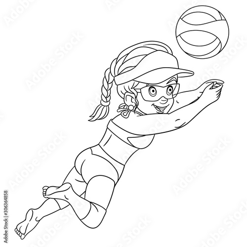 Fototapeta coloring page with girl playing volleyball obraz