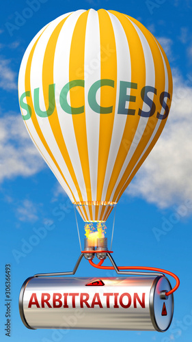 Arbitration and success - shown as word Arbitration on a fuel tank and a balloon Canvas Print
