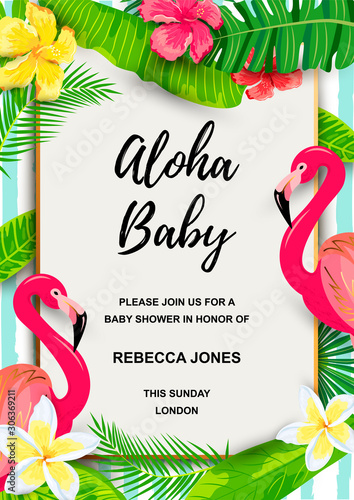 Pink flamingo with jungle leaves, flowers, tropical party invitation Wallpaper Mural