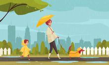 Rainy Weather City Composition