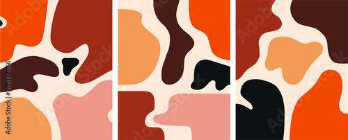 Fotomural Minimalist organic shapes design, flat  art postcard,nordic scandinavian design,