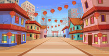 Panorama Chinese Street With O...