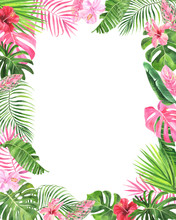 Watercolor Frame With Tropical...