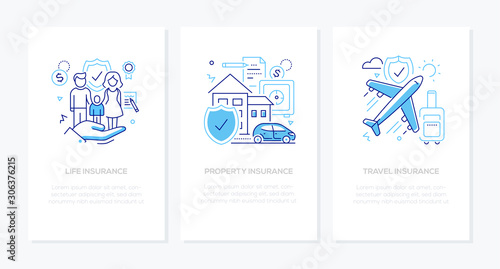 Types of insurance - line design style banners set