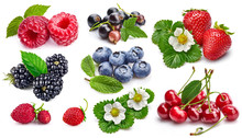 Set Fresh Berries Healthy Food Fruit With Green Leaf, Isolated On White Background.