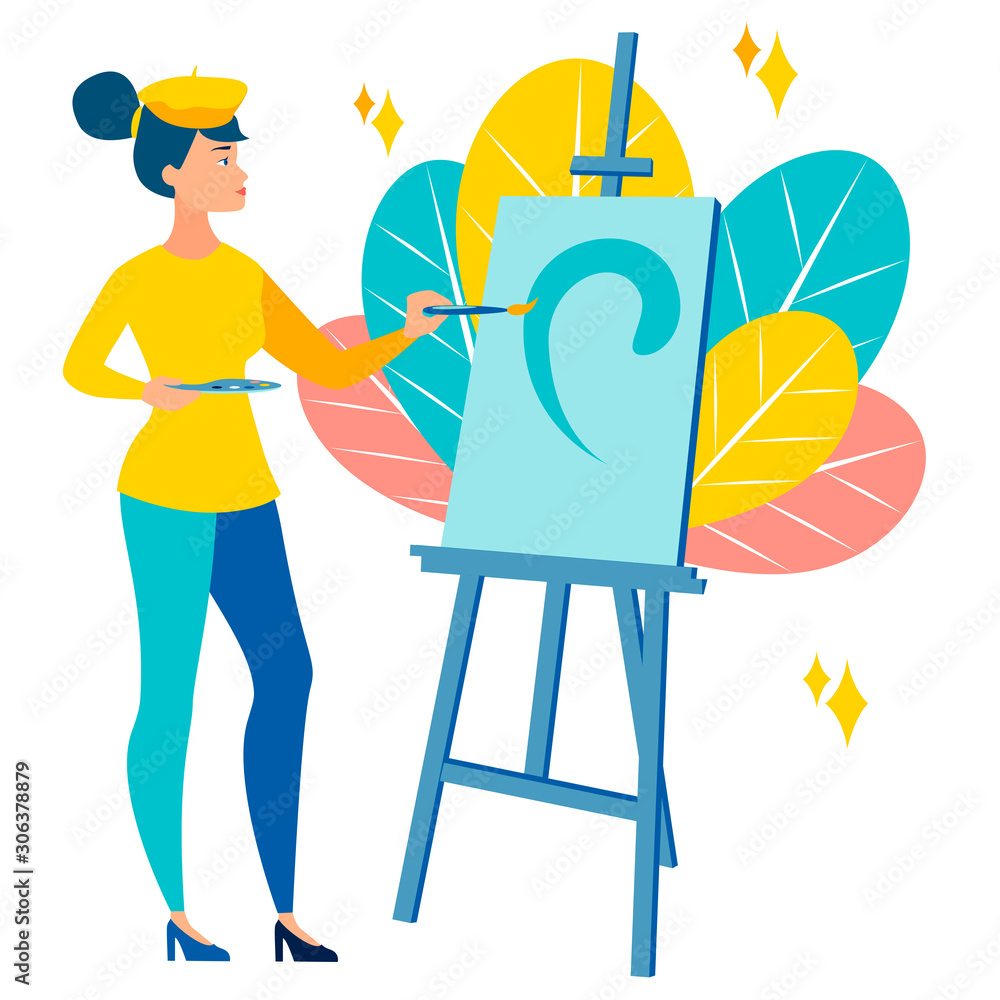 Fototapeta The girl, the artist paints a picture. Art scene. In minimalist style Cartoon flat raster