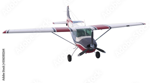Light aircraft isolated on white background Canvas Print