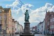 canvas print picture - Statue of the Flemish painter Jan van Eyck in Bruges, Belgium
