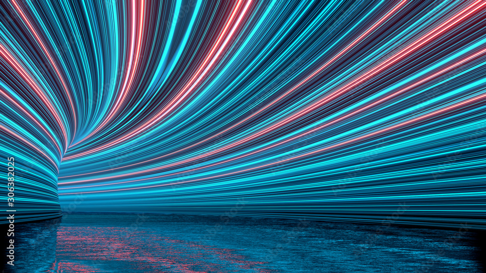 3D Rendering of curved tunnel with led glowing lights on ceiling and reflection from puddle on wet dark street surface. Concept for fast business technology, car advertising background