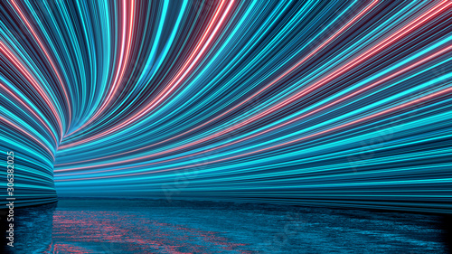 Fototapeta 3D Rendering of curved tunnel with led glowing lights on ceiling and reflection from puddle on wet dark street surface. Concept for fast business technology, car advertising background obraz