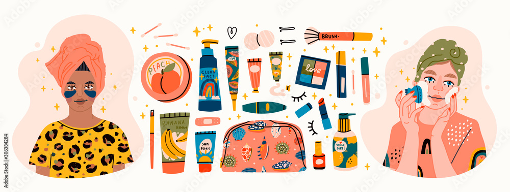 Fototapeta Beauty routine. Beautiful young ladies and various cosmetics. Face and body care concept. Cleansing, moisturizing, treating. Hand drawn vector set. Trendy illustration. All elements are isolated