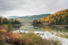 Riverboat Narrows On The Skeena River In Autumn