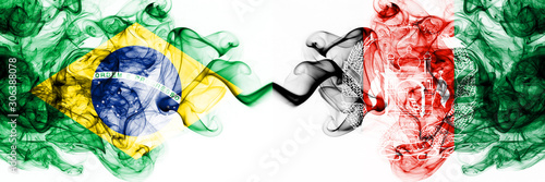 Brazil, Brazilian vs Afghanistan, Afghani smoky mystic flags placed side by side Wallpaper Mural
