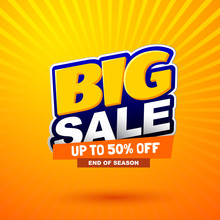 Big Sale Special Offer Banner. Bright Creative Design. Happy And Funny Style. Can Be Use For Kids Product Discount.