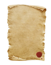 Red Wax Seal On Old Paper Manu...