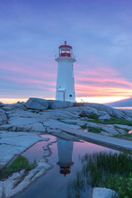 Sunset At Peggys Cove Lighthouse