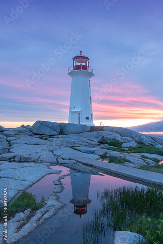 Photo Sunset at Peggys Cove Lighthouse