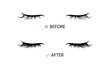 Lashes extensions before and after illustration