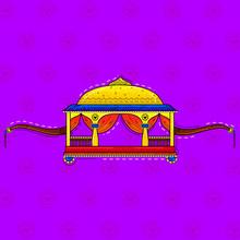 Illustration Of Desi (indian) Art Style Palanquin.