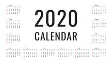 2020 Calendar Grid Template. B...