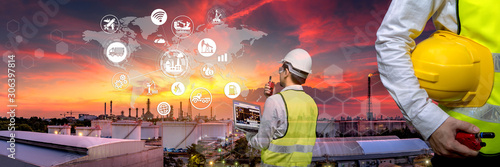 Fototapeta Industry 4.0 Oil refinery and double exposure icon concepts, networking and data exchange and modern technology for the world industrail. obraz