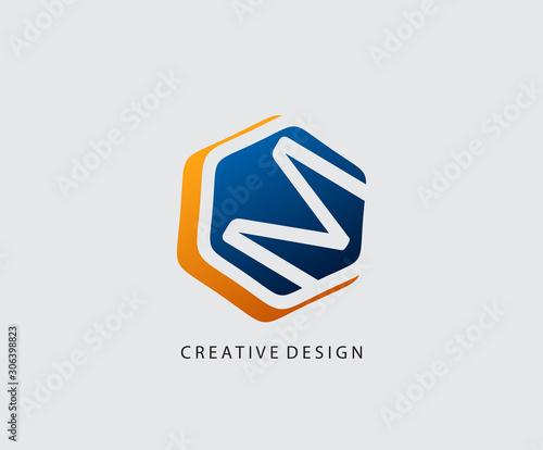 M Letter Hexagon Technology Logo Icon Design. Wallpaper Mural